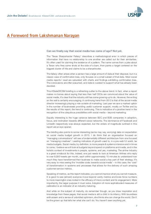 Join the Debate! @usefulsocial #StateofCSM usefulsocialmedia.com7A Foreword from Lakshmanan NarayanCan we finally say that...