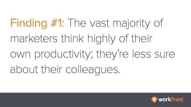 Finding #1: The vast majority of marketers think highly of their own productivity; they're less sure about their colleague...