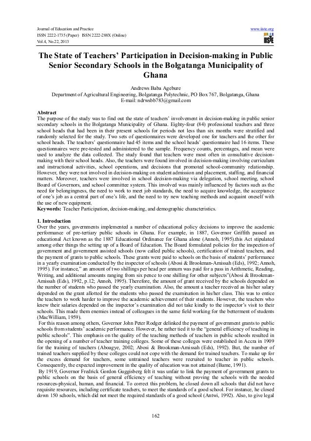 Journal of Education and Practice ISSN 2222-1735 (Paper) ISSN 2222-288X (Online) Vol.4, No.22, 2013  www.iiste.org  The St...