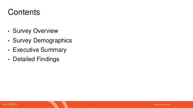©2016 Valencell. Inc Contents • Survey Overview • Survey Demographics • Executive Summary • Detailed Findings 2