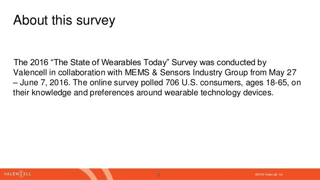 """©2016 Valencell. Inc The 2016 """"The State of Wearables Today"""" Survey was conducted by Valencell in collaboration with MEMS ..."""