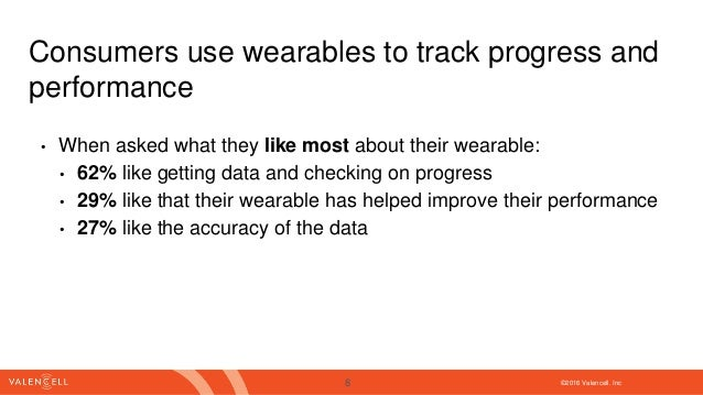 ©2016 Valencell. Inc Consumers use wearables to track progress and performance • When asked what they like most about thei...