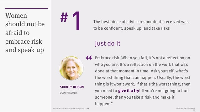 """PRESENTATION © 2015 ROCK HEALTH 25 Women should not be afraid to embrace risk and speak up COO of TEDMED SHIRLEY BERGIN """"E..."""