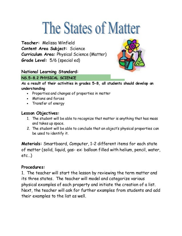 The States Of Matter Lesson Plan 16844922 on Three States Of Matter Worksheet