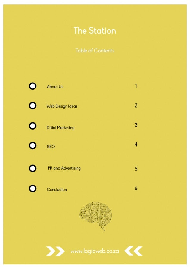 Table of contents design ideas