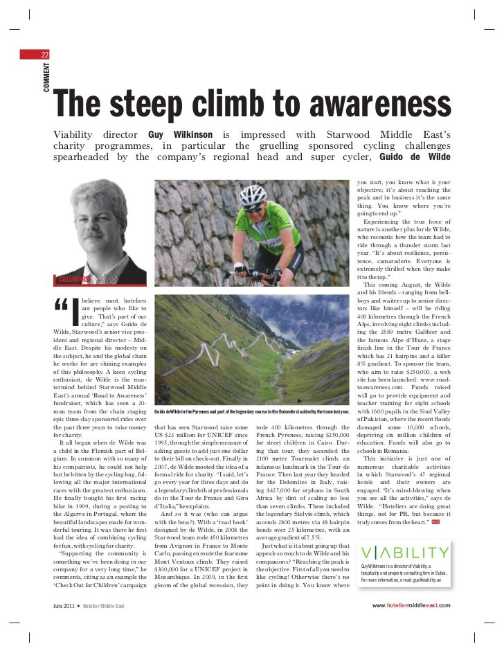 22COMMENT          The steep climb to awareness          Viability director Guy Wilkinson is impressed with Starwood Middl...