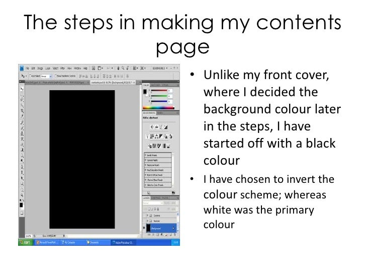 The steps in making my contents page<br />Unlike my front cover, where I decided the background colour later in the steps,...