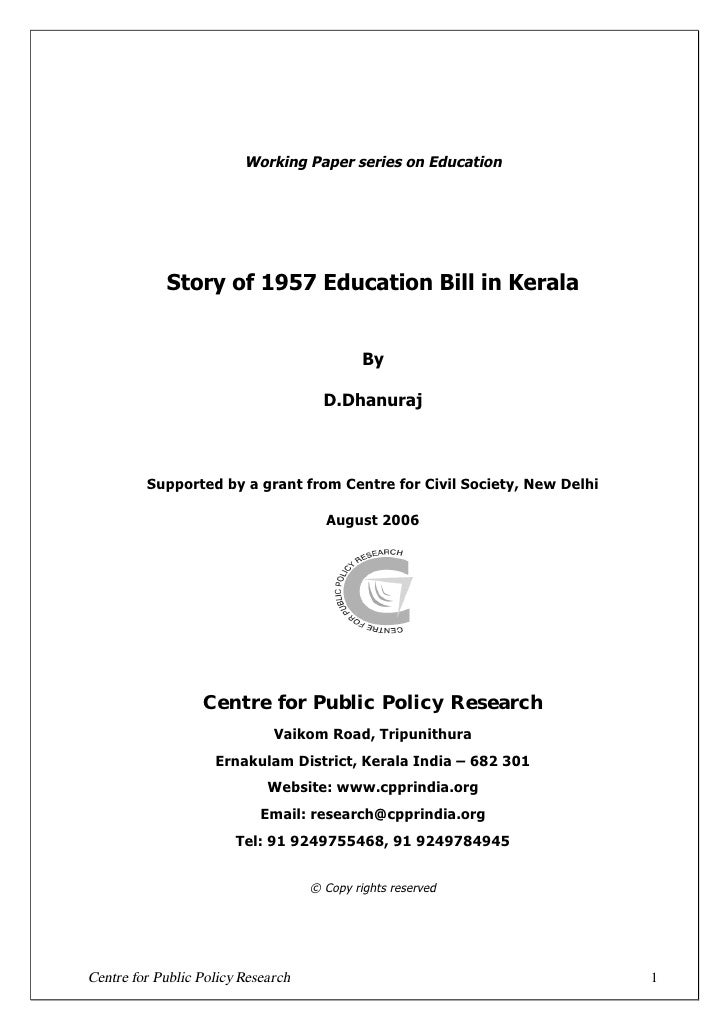 Working Paper series on Education            Story of 1957 Education Bill in Kerala                                       ...