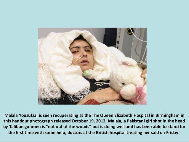 Malala Yousufzai is seen recuperating at the The Queen Elizabeth Hospital in Birmingham in this handout photograph release...