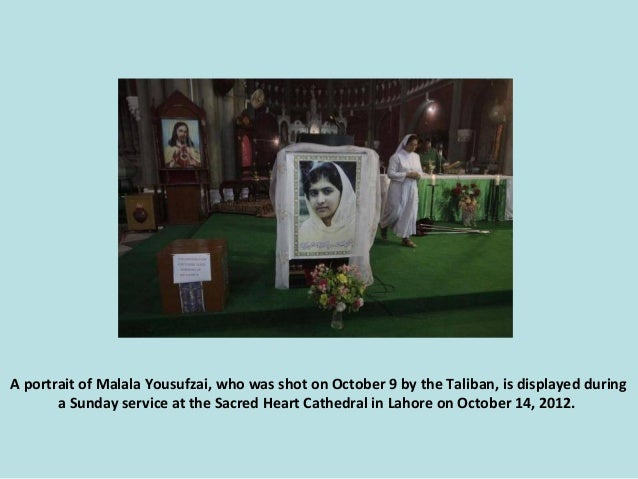 A portrait of Malala Yousufzai, who was shot on October 9 by the Taliban, is displayed during a Sunday service at the Sacr...