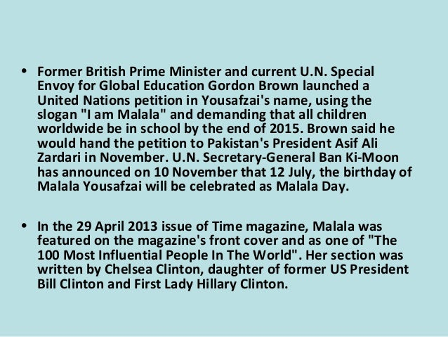 """• Let us pick up our books and pens,"""" Malala summed up. """"They are our most powerful weapons. """"One child, one teacher, one ..."""