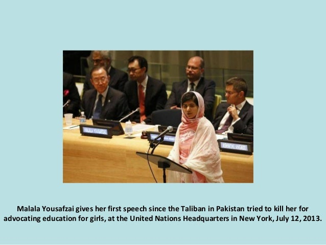 Malala Yousafzai gives her first speech since the Taliban in Pakistan tried to kill her for advocating education for girls...