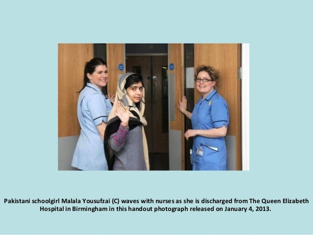 Pakistani schoolgirl Malala Yousufzai (C) waves with nurses as she is discharged from The Queen Elizabeth Hospital in Birm...