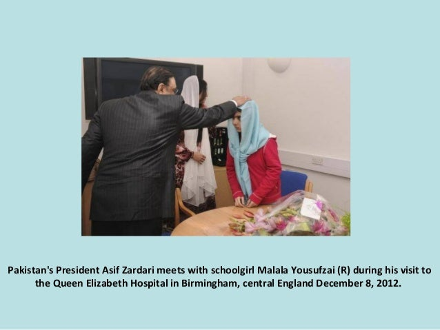 Pakistan's President Asif Zardari meets with schoolgirl Malala Yousufzai (R) during his visit to the Queen Elizabeth Hospi...