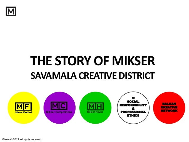 Mikser © 2013 .All rights reserved THE STORY OF MIKSER SAVAMALACREATIVEDISTRICT !!! SOCIAL RESPONSIBILITY & PROFESSIONAL E...