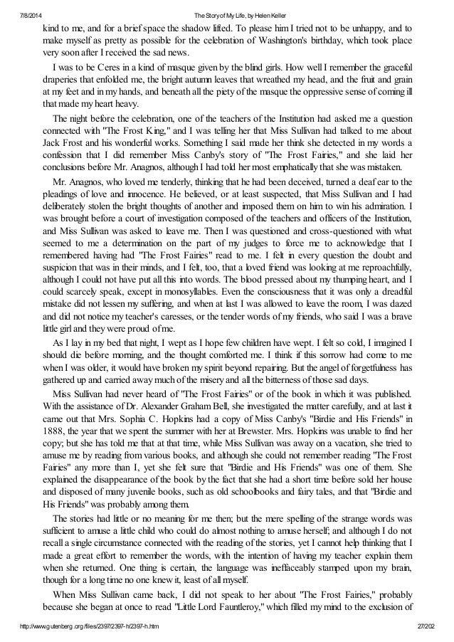 what is helen kellers thesis