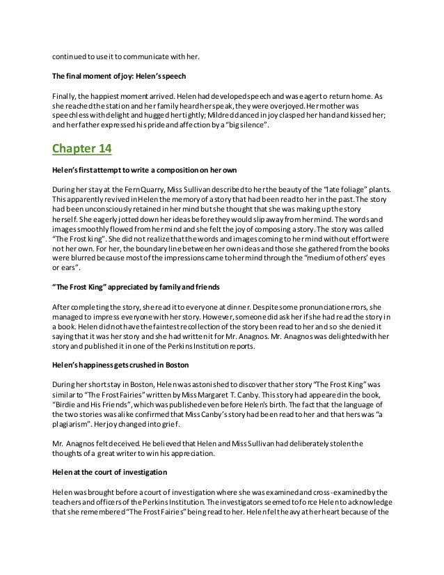 summary the story of my life by helen essay Excerpt from 'the story of my life' by helen keller is in the public domain provide an objective summary of the text commonlit is a 501(c)(3.