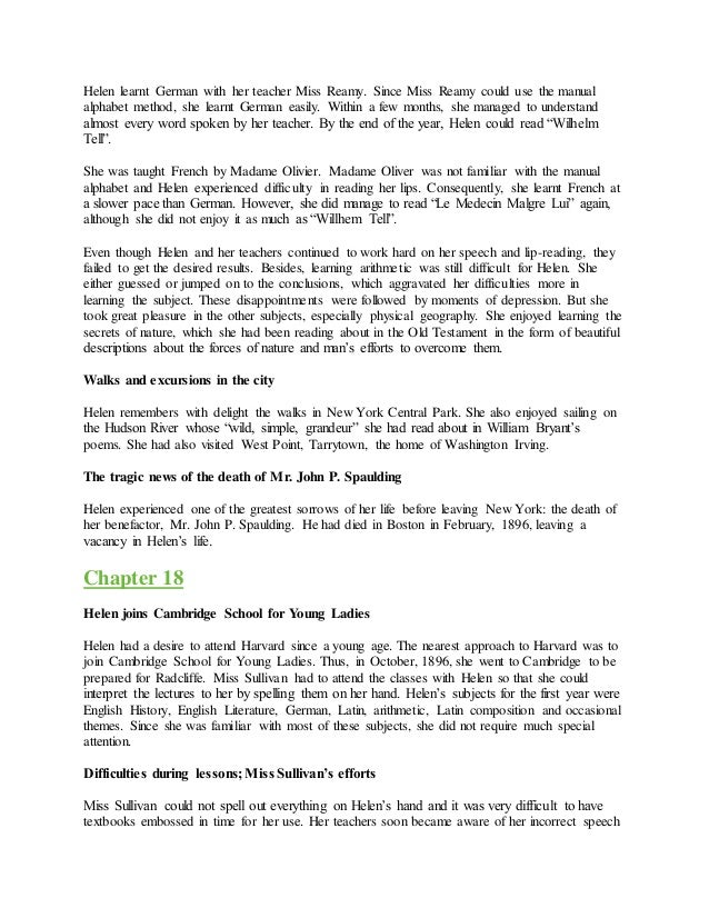 helen keller story of my life chapter summary The story of my life by helen keller summary chapters 1 to 6, explained in hindi.
