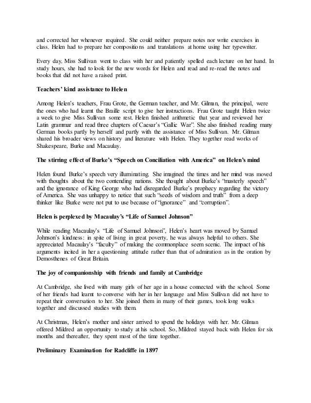 the story of my life by helen keller summary