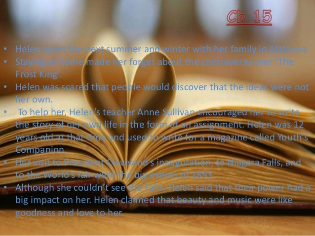 the story of my life chapter wise summary Chapter 01 – my family in this chapter, helen tells us about her trouble starting her story you know that she was deaf and blind when she wrote this autobiography.