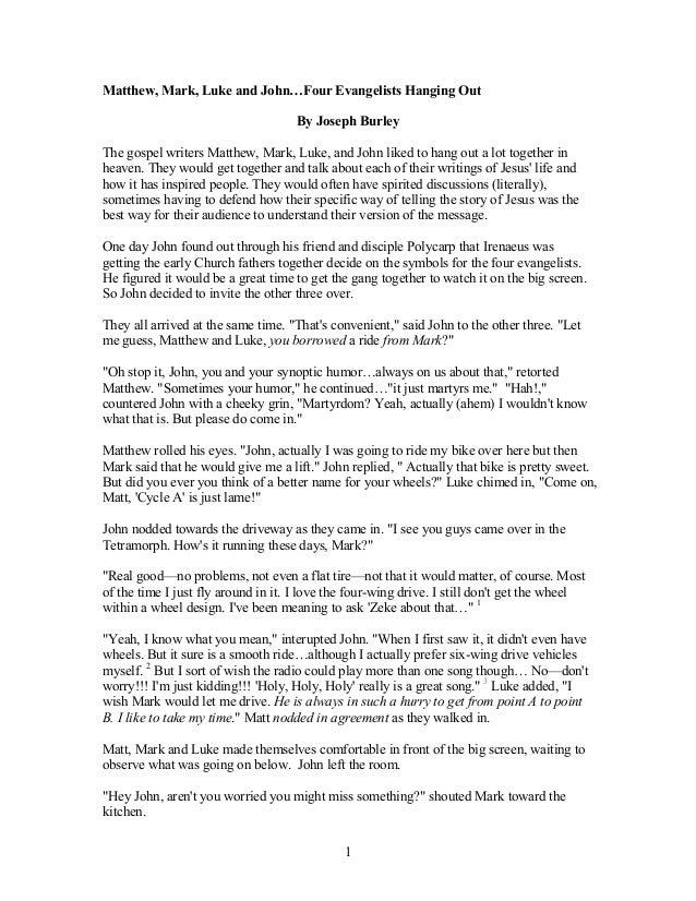 Essay mark matthew luke and john
