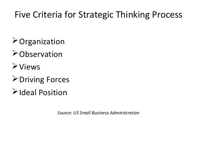 Five Criteria for Strategic Thinking Process Organization Observation Views Driving Forces Ideal Position Source: US ...