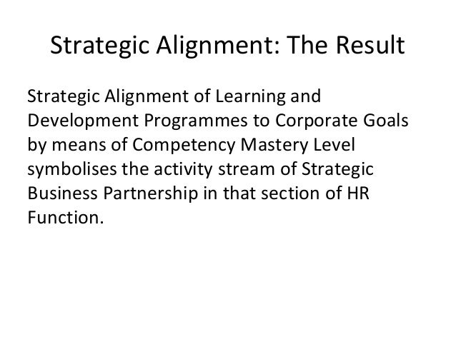 Strategic Alignment: The Result Strategic Alignment of Learning and Development Programmes to Corporate Goals by means of ...