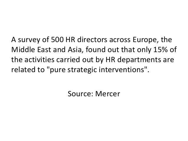 A survey of 500 HR directors across Europe, the Middle East and Asia, found out that only 15% of the activities carried ou...