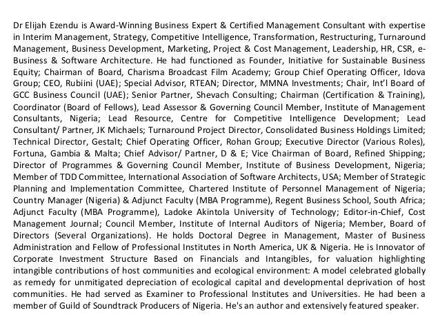 Dr Elijah Ezendu is Award-Winning Business Expert & Certified Management Consultant with expertise in Interim Management, ...