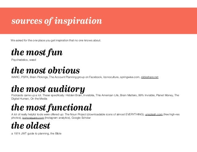sources of inspiration We asked for the one place you get inspiration that no one knows about. the most obvious the most f...