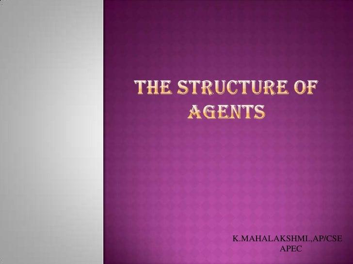 THE STRUCTURE OF AGENTS<br />K.MAHALAKSHMI.,AP/CSE<br />APEC<br />
