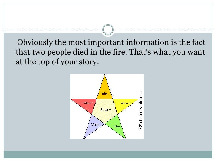 Obviously the most important information is the factthat two people died in the fire. That's what you wantat the top of yo...