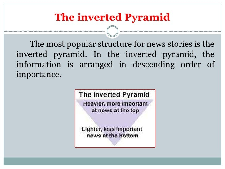 The inverted Pyramid    The most popular structure for news stories is theinverted pyramid. In the inverted pyramid, thein...