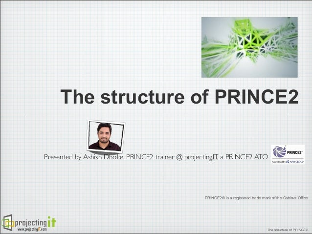The structure of PRINCE2 Presented by Ashish Dhoke, PRINCE2 trainer @ projectingIT, a PRINCE2 ATO  PRINCE2® is a registere...