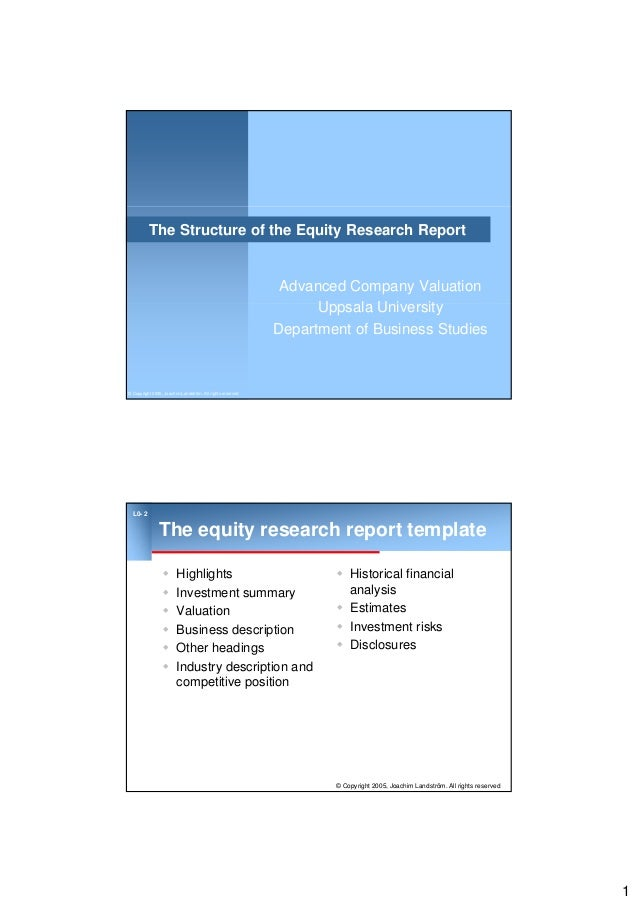The structure of the equity research report 1 the structure of the equity research report advanced company valuation u l u i it wajeb Images