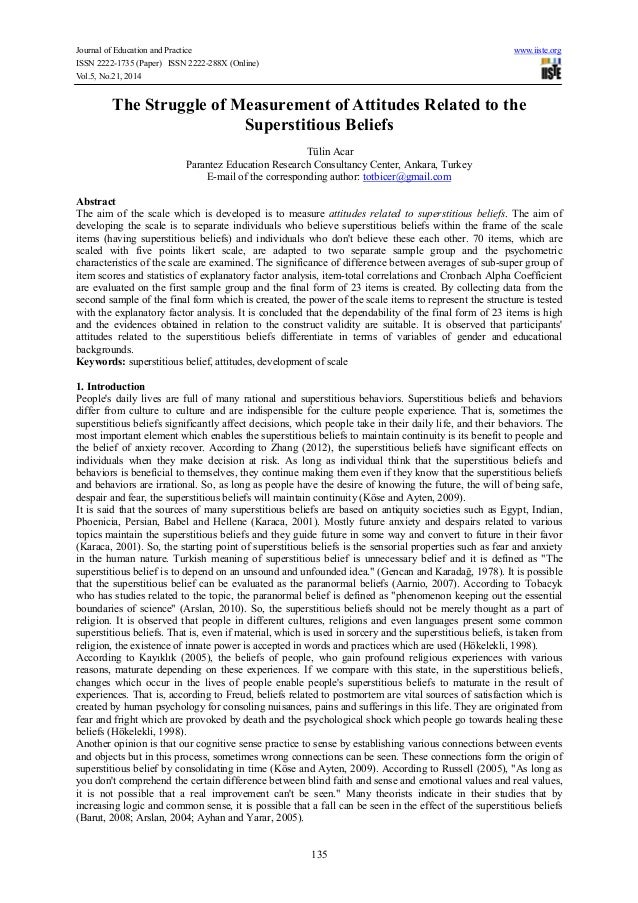 Journal of Education and Practice www.iiste.org ISSN 2222-1735 (Paper) ISSN 2222-288X (Online) Vol.5, No.21, 2014 135 The ...