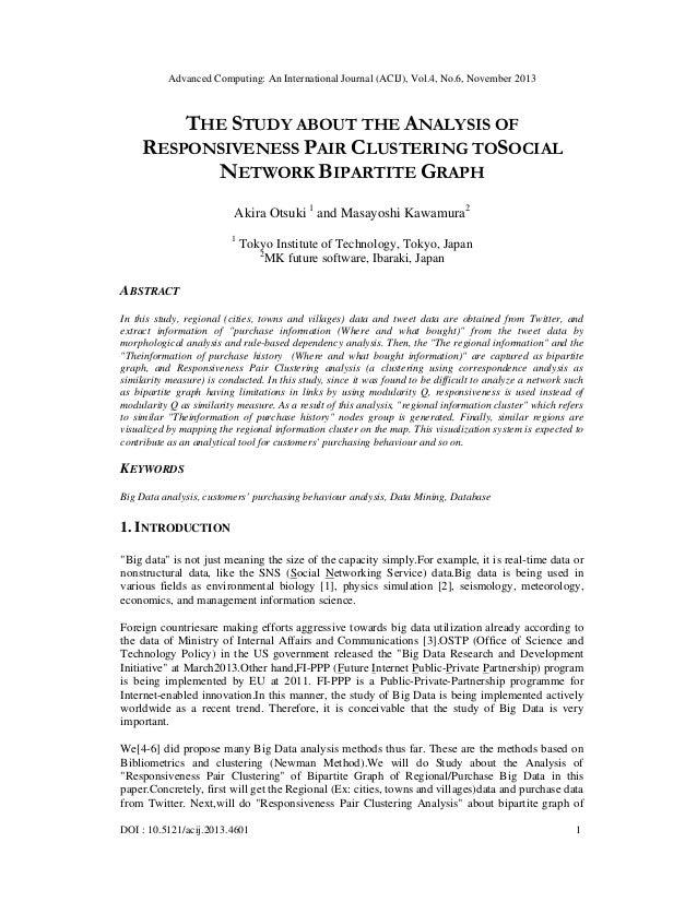 Advanced Computing: An International Journal (ACIJ), Vol.4, No.6, November 2013  THE STUDY ABOUT THE ANALYSIS OF RESPONSIV...