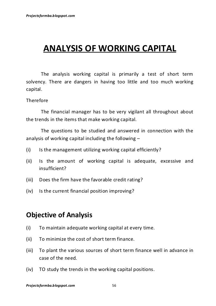 a study on working capital management Impact of working capital on corporate performance so it's important to study working capital management and its impacts on working capital management deals with decisions relating to working capital and short term.