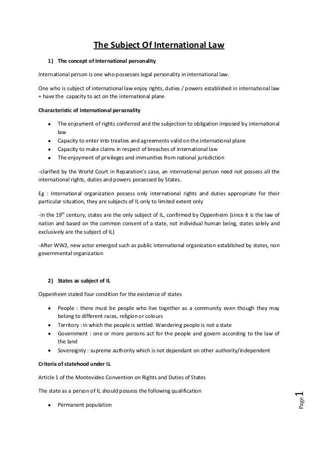 Page1 The Subject Of International Law 1) The concept of International personality International person is one who possess...