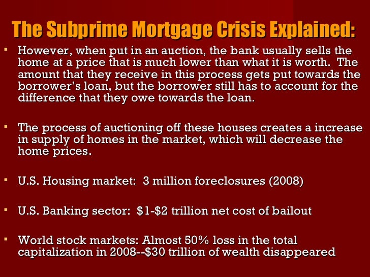 the subprime mortgage crisis A paper published this week claims that the less competent at math, the more  likely one is to default on mortgage in 2006-2007.