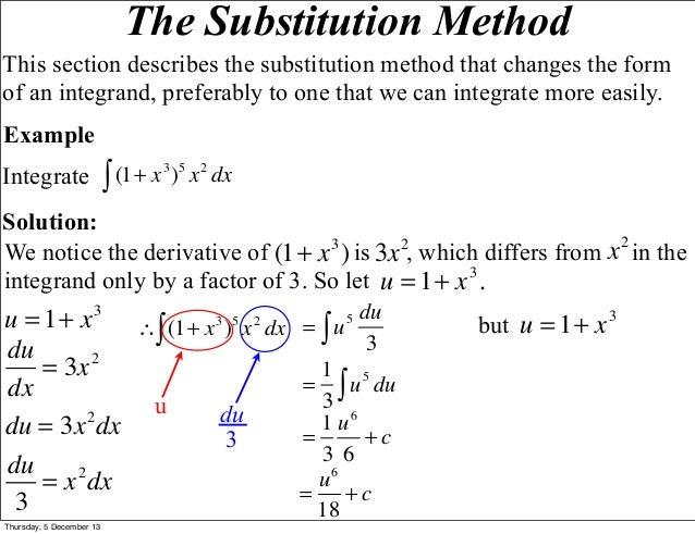 Indefinite and Definite Integrals Using the Substitution Method
