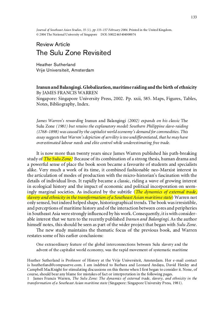 The sulu zone revisited