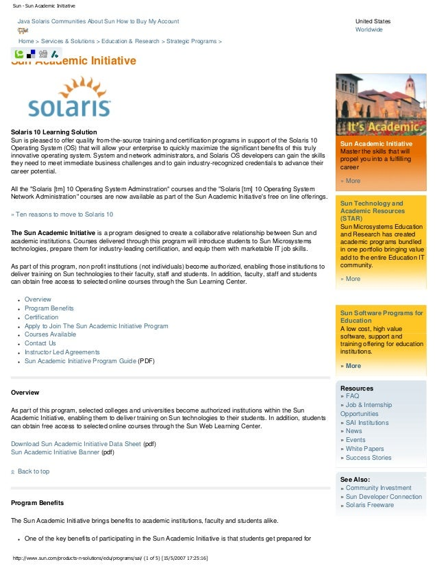 Sun - Sun Academic Initiative  Java Solaris Communities About Sun How to Buy My Account Cart  United States Worldwide  Hom...
