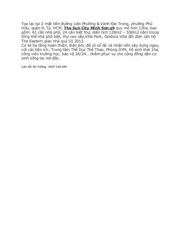 Tọa lạc tại 2 mặt tiền đường Liên Phường & Vành Đai Trong, phường Phú Hữu, quận 9, Tp. HCM, The Sun City Minh Sơn q9 quy m...