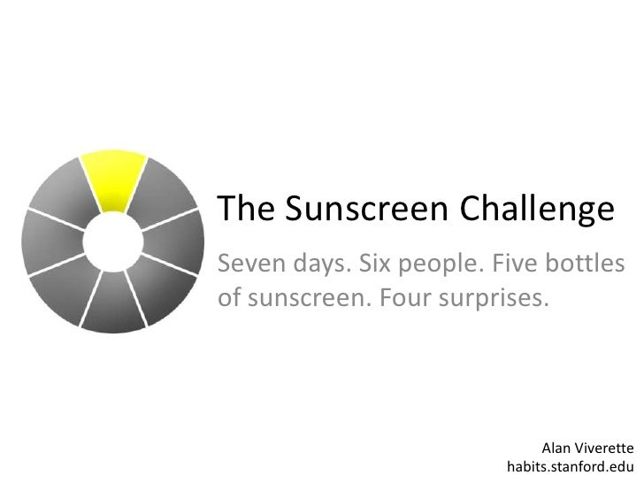 The Sunscreen Challenge<br />Seven days. Six people. Five bottles of sunscreen. Four surprises.<br />Alan Viverettehabits....