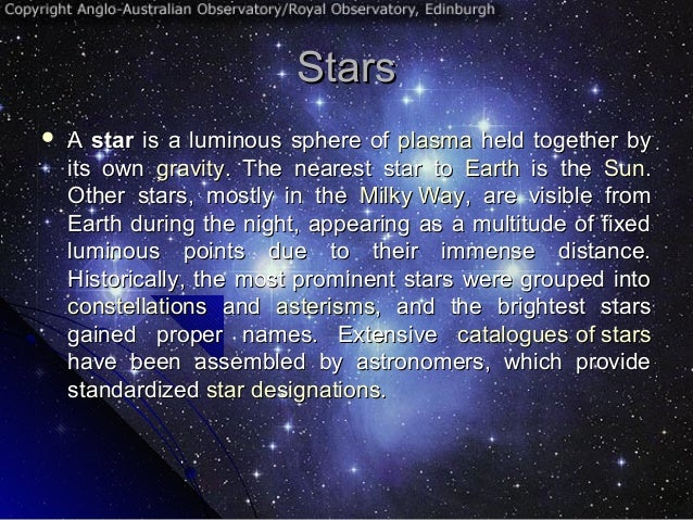 The sun, stars and solar system