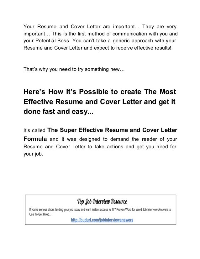 The Super Effective Resume And Cover Letter Formula