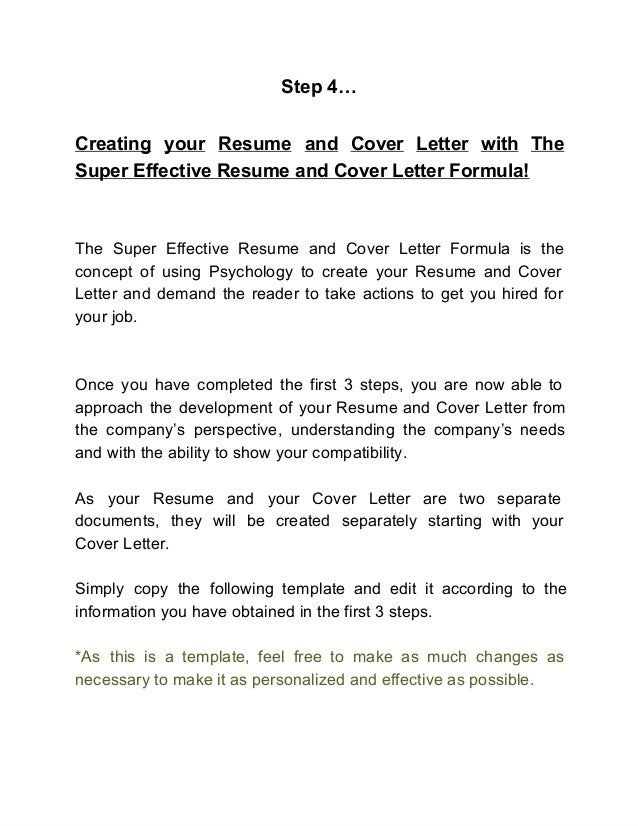 how to create an effective cover letter - the super effective resume and cover letter formula