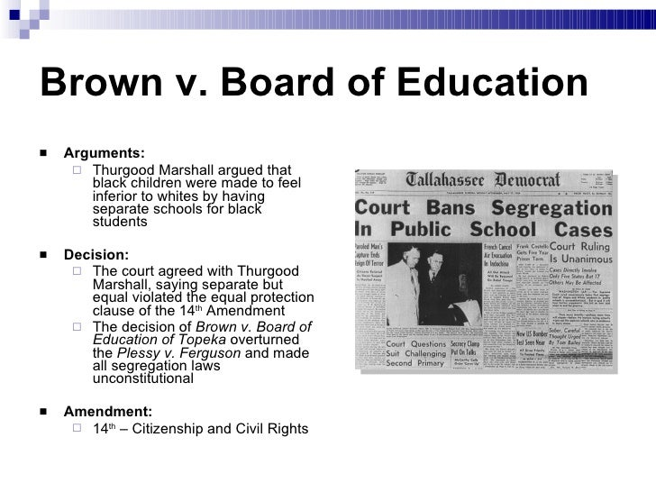 brown v board of education argument Brown v board of education (1954) brown v board of education (1954), now acknowledged as one of the greatest supreme court decisions of the 20th century, unanimously held that the racial.