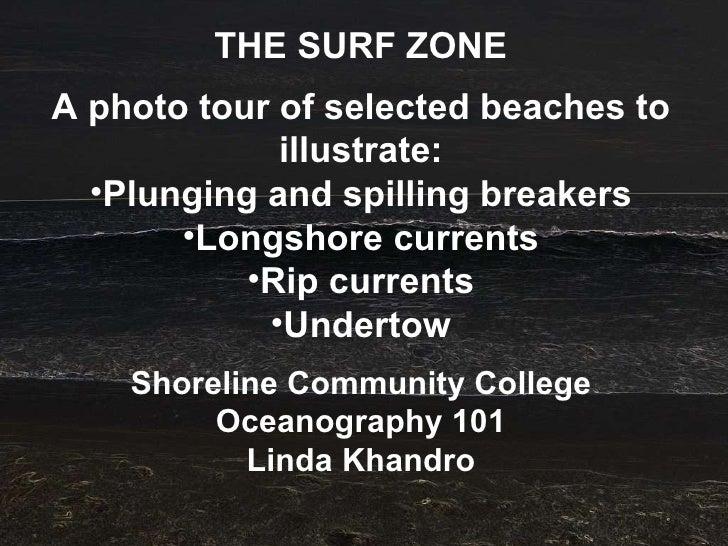 <ul><li>THE SURF ZONE </li></ul><ul><li>A photo tour of selected beaches to illustrate: </li></ul><ul><li>Plunging and spi...